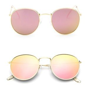 Accessories - Rose pink mirrored lens round retro sunnies